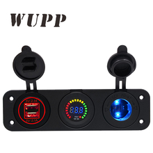 WUPP Car Marine 4.2A Red Dual Usb Mobile Phone Charger Color Screen Voltage Meter Waterproof Cigarette Lighter Socket With Led