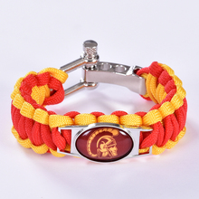 USC Trojans Custom Paracord Bracelet NCAA College Football Charm Bracelet Survival Bracelet, Drop Shipping! 6Pcs/lot!