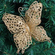 Hollow Glitter Butterfly Christmas Ornaments Hanging Wedding Party Xmas Tree Home Valentine's Day Decorations 10pcs 5ZHH187(China)