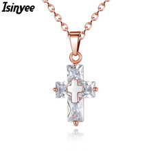 ISINYEE Fashion CZ Cross Necklaces Cubic Zirconia Pendants Rose Gold Silver Color Christian Jesus Jewelry For Women Accessories