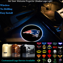 2x New England Patriots Logo Car Door Wireless Senor Welcome Ghost Shadow Puddle Spotlight Laser Projector LED Light (NFL4)