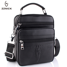ZZNICK 2017 New Genuine Leather Men Fashion Crossbody Bag Men Messenger Bags Casual Shoulder Designer Crocodile Pattern Men Bag(China)