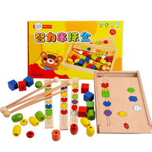 Montessori teaching educational toys senses three body six color big wooden bead four color bead rods