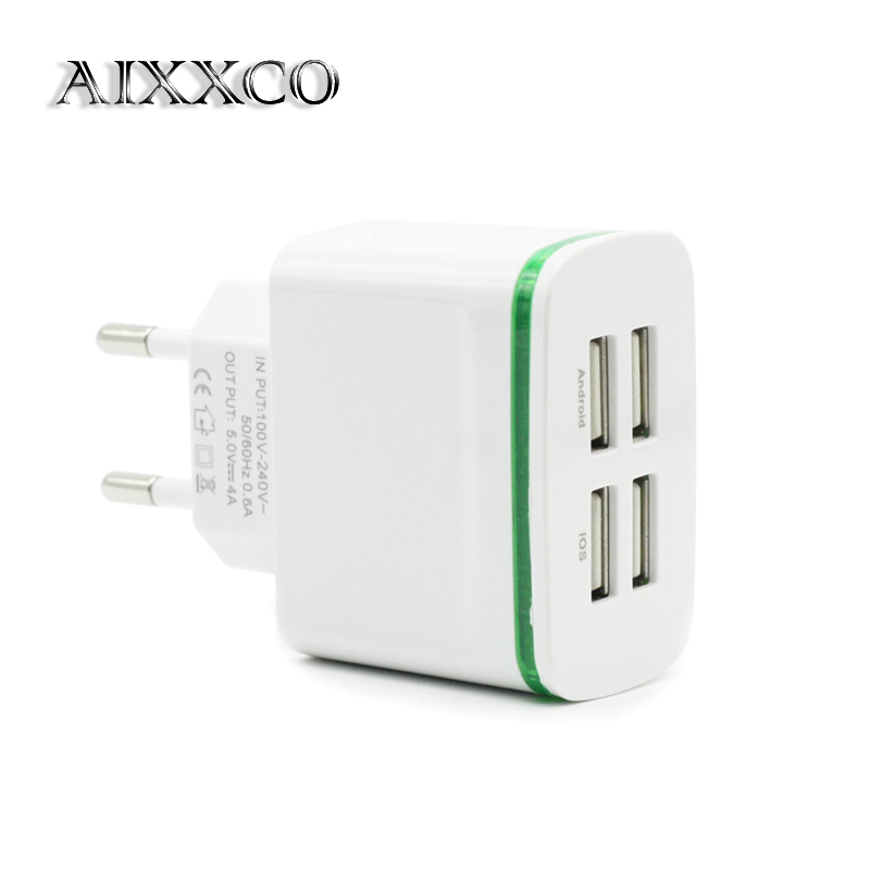 AIXXCO LED Light EU Plug 4 Ports Mobile Phone Adapter 4A Wall USB Charger For iPhone 6 7 iPad Samsung Charging Device(China (Mainland))