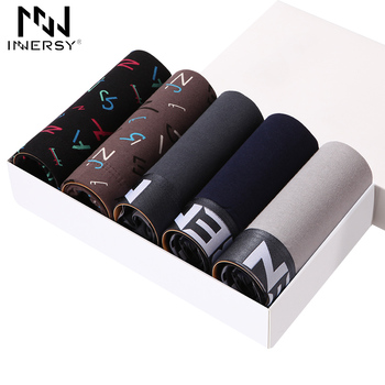 Innersy 2017 marca calcinhas 5 pcs \ lote mens boxers underwear algodão impresso boxer shorts dos homens pugilistas dos homens underwear underwear sólida l-3xl