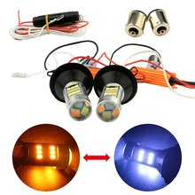2Pcs Canbus No Error For Car White/Amber Switchback 1156(150 Degree) BAU15S 42SMD 2835 Chips LED Bulbs Kit With 1156 BA15S Base