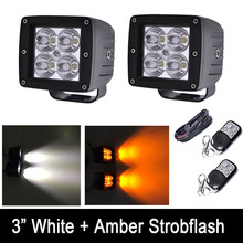 "24W White /Amber Color Strobeflash LED Work Light Bar 3X3"" Cube Pods Offroad Spot Flood Fog Lamp for Offroad 4x4 JEEP SUV ATV"