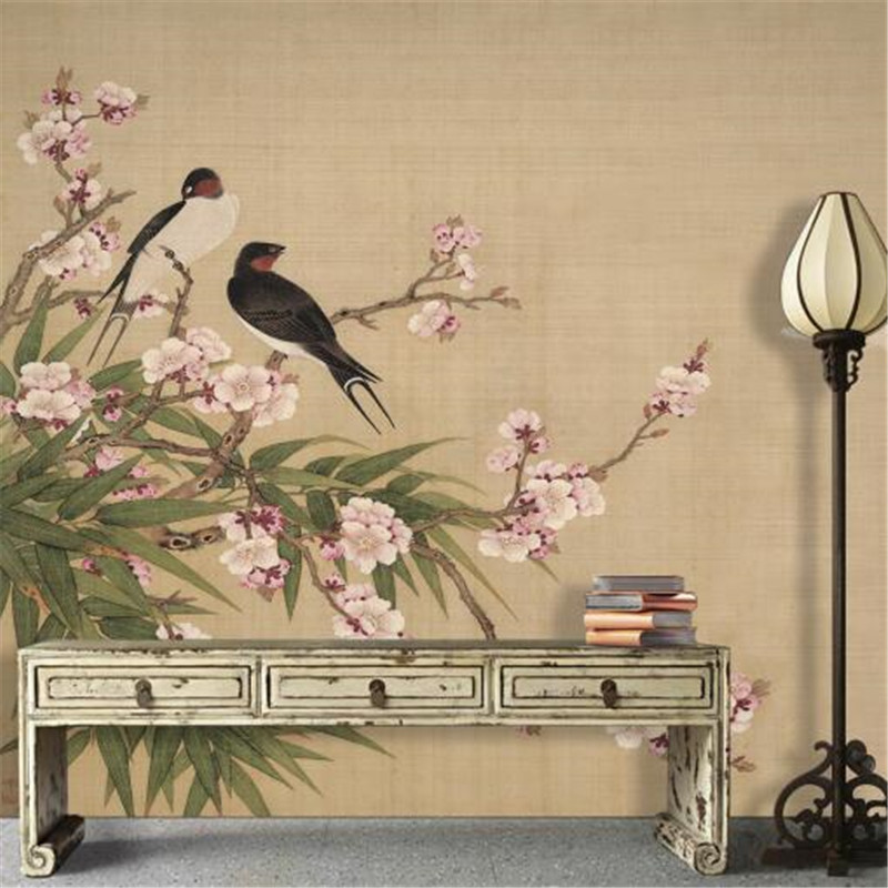 Custom 3D Photo Wallpapers Chinese Style Non-Woven Wall Paper Magpie Wallpapers Playful Birds and Flowers Sticker<br>