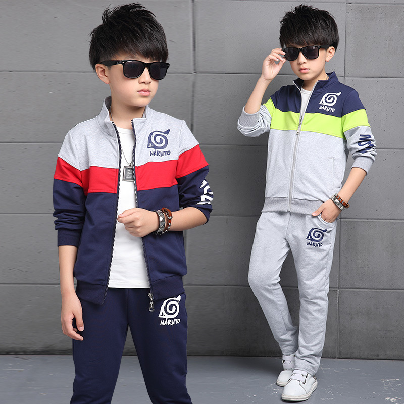 2017 Kids Boys spring autumn clothing set large children 8-9-13 age boy clothes kids clothing long sleeved sweater sport suit<br><br>Aliexpress