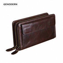 Brand Double Zipper Men Wallets with Phone Bag Vintage Genuine Leather Clutch Wallet  Male Purses Large Capacity Men's Wallets