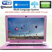 2GB RAM+32GB SSD and 64GB TF Card 11.6 inch Intel Z3735F Quad Core 1.3GHz Gaming Laptop Computer Windows 10 WIFI HDMI WEBCAM(China)