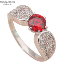 Red zircon rings Hot buying Shining Silver plated Fashion Jewelry crystal Rings USA sz #5.75 #6.75 #7.75 JR1734(China)