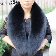 2018 New Arrival Genuine Fox Fur Collars Real Fur Scarf Super Large Luxury Wrap Stole Women Warm 100CM(China)
