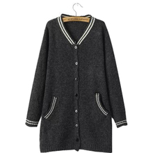 Korean college wind long sweater jacket v-collar baseball fitness shirt sweaters cardigan coat fitness clothing vestidos MMY057