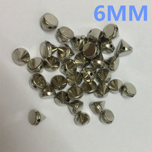 free shipping 2017 fashion ABS 6MM silver plastic spike studs rivet beaded hand sewing on nailhead DIYaccessories 1000pcs/lot(China)