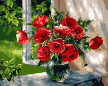 Diy oil painting Window sill poppy flower by numbers adult painting calligraphy by number oil paint acrylic decorative canvas
