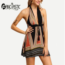Fanciastic Summer Beach Bohemian Dresses for Women Sexy Geometric Hater Backless Sleeveless Mini Dress(China)