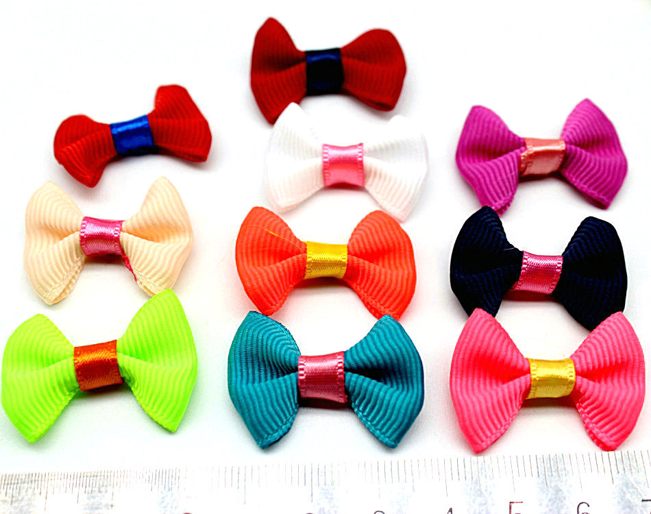 300pcs mix colors Two-Tone mix color small Hair Bows 30mm With colors Accent Grosgrain Pinwheel bow display