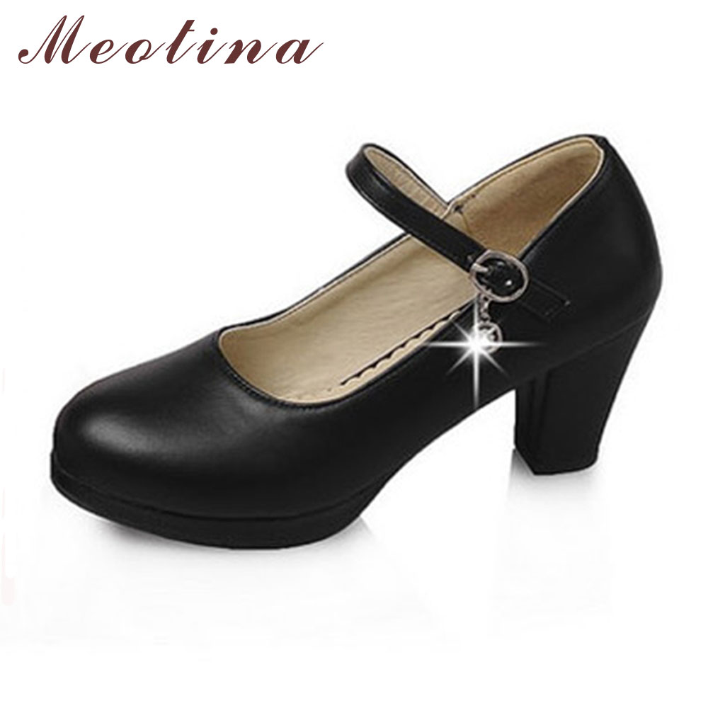 Meotina Large Size Classics Womens Pumps Autumn Round Toe Mary Jane Platform Thick High Heels Female Crystal Black Shoes C006<br><br>Aliexpress