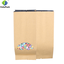 Brand New 100pcs 9x22cm(3.5x8.5in) Flat Mylar Package Food Coffee Bean Open Top Brown Kraft Paper Bags w/ Top & Bottom Notches(China)