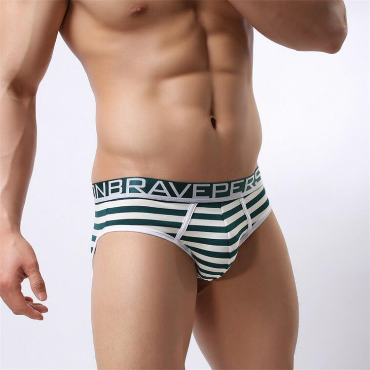Hot sell Brave Person Brand Underwear Men's Cotton Striped Briefs Underpants Men Panties Comfortable Wide Belt Underwear 1154 15