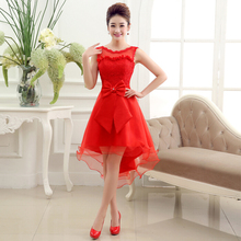 girls high low red bridesmaid dress to party tulle brides maid party dresses 2017 for wedding guests free shipping R3719