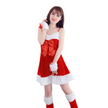 Imported China Beautiful cheap New Women Santa Claus Holiday Costume Cosplay Girls Xmas Outfit Fancy Party sexy dress vestido(China)