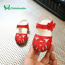 Claladoudou Infant Sandals Red Summer Girls Sandals Pure White Baby Girl Flower Toddler Flat Hollow Closed Toe Girls Sandals
