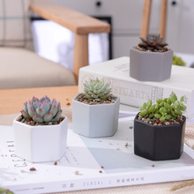 4pcs/set Matt Decorative Hexagon Flowerpot Mini Ceramic Succulent Plant Pots Desktop Flower Pot Bonsai Planter(China)