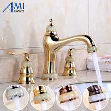 3Pcs Jade&Brass Deck Mounted Bathroom Tap Basin Faucet Sink or Bathtub Faucet Double handles Faucet Golden/RoseORB