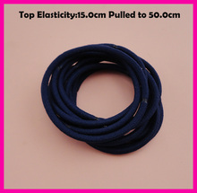 50PCS 3mm Top Elasticity Navy Seamless Elastic Ponytail Holders Hair Bands,dark blue Elastic Hair Ties,circle length 15.0cm