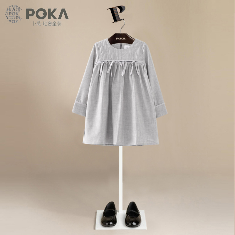 POKA Brand Spring 5-10Y Children Long Sleeve Dress Girls Cotton Gray Dresses for Girls Casual Clothes Kids Dress Girl Clothing<br>