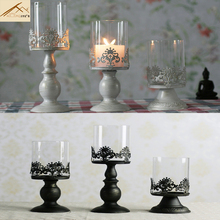 2016 Candles Good Quality Classical European Style Hollow Iron Candle Holder Wedding Party Home Decoration Glass Holders Gift