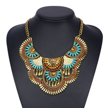 Gold Chunky Pendant Necklace For Women 2017 New Fashion Big Flower Necklace Chain Bohemia Ethnic Wholesale Jewelry YY0859