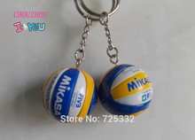 2pcs Top beach volleyball PVC 3.7 cm keychain key ring business gifts 4 color