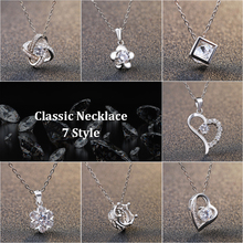 Hot Sales Genuine 925 Silver 7 Style Pendant Necklace with Movable AAAAA Zircon Rhodium Plated Necklaces