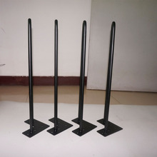 "4*20"" Hairpin Table Leg, 2 rod 3/8"" Solid Iron,Classical Black Furniture Legs For Table, Mid-Century Modern Style Table Legs(China)"