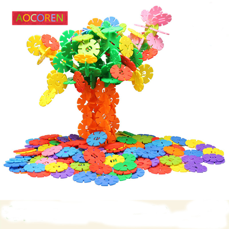 Aocoren 200 pcs 3cm  Snow Snowflake Building Blocks Toy Bricks DIY Assembling Early Educational Learning Classic Kids Toys <br>