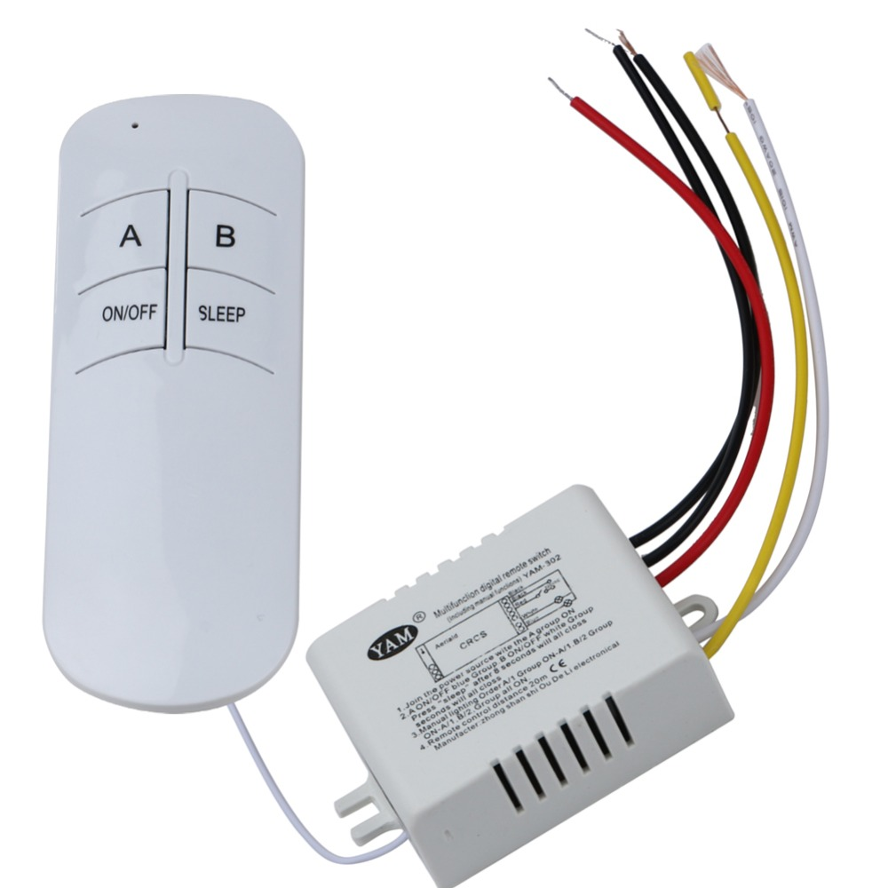 Wireless ON/OFF 2 Ways 220V Lamp Remote Control Switch Receiver Transmitter for droplight/ crystal lamp/modern low-pressure lamp<br><br>Aliexpress