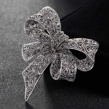 Blucome Cute Women Bow Brooches bridal Jewelry Antique Silver Color flower brooch pins party Gifts hijab Accessory Hats jewelry(China)