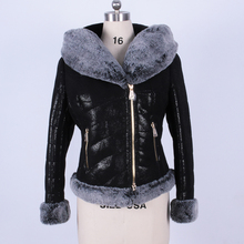 Zippers Flocking thick cold women's artificial suede winter fashion fur coat hair with Rabbit's Genuine leather collar wholesale
