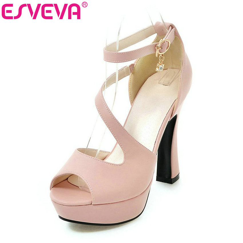 ESVEVA 2017 Thin High Heel Women Pumps Platform White  Peep Toe Wedding Shoes Sexy OL White Ankle Strap Summer Shoes Size 34-43<br>