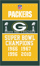 3X5FT Green Bay Packers SUPER BOWL flag100D polyester digital print banner with 2 Metal Grommets free shipping(China)
