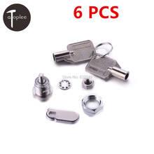 Top Quality 6 PCS Zinc Alloy Mechanical Lock Travel Luggage Suitcase Furniture Cabient Door Lock Pick With 12 Keys(China)