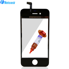 Netcosy For iPhone 4 4G 4S Front Glass Lens + Touch Screen Digitizer Touch Panel LENS Repair For Apple + 5ML UV Glue Touchscreen(China)