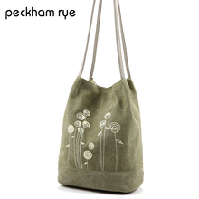 PECKHAMRYE summer beach bag For Girls Shoulder bag flower Handbag Female Canvas Tote Bag Floral Print Handbag Bolsa