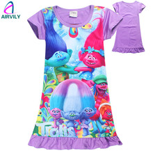 Trolls Children Dress Clothing Summer Dresses Girls Baby Pajamas Costume Princess Nightgown Vestidos Infantis Christmas Clothes