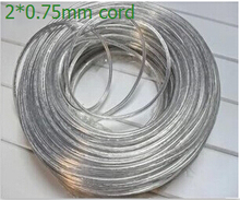 (5m/lot) Lighting lamps transparent electrical wire pendant light power cord 2*0.75mm power cord meters copper core