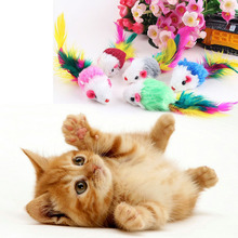 Hot sale cute cats toys 10pcs/lot false mouse toys for cat soft fleece cats toys funny non-toxic toy for pet