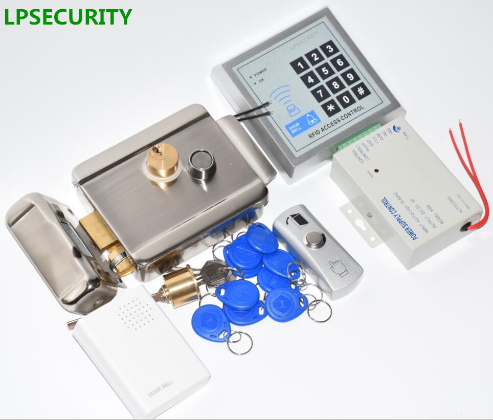LPSECURITY RFID Door Access Control System Kit With Lock RFID keypad+power+electric gate lock+door exit button+15 key tags<br>